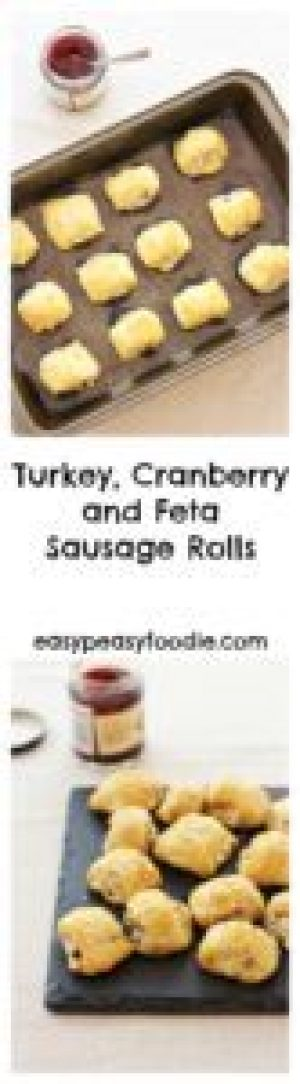 Fancy a sausage roll recipe with a twist? How about making these easy peasy Turkey, Cranberry and Feta Sausage Rolls? They are perfect for taking to Christmas parties or munching on Christmas morning. Or wouldn't they be a fab way of using up leftover turkey for a Boxing Day buffet? #turkey #cranberry #feta #sausagerolls #turkeysausagerolls #leftoverturkey #leftovers #easyentertaining #easypeasychristmas #easypeasyfoodie