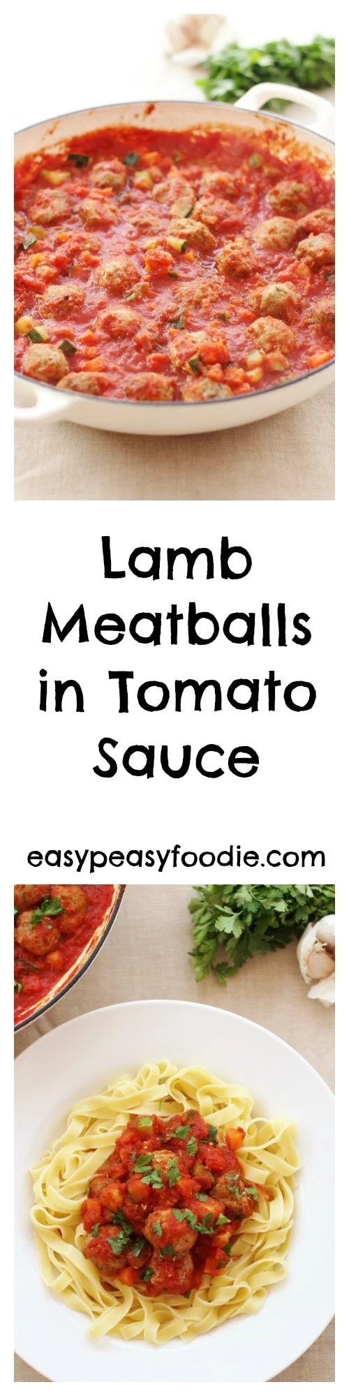 Simple, delicious and very family friendly, these Lamb Meatballs in Tomato Sauce are perfect for a busy weeknight. #lamb #lovelamb #lambmeatballs #tomatosauce #pasta #taglietelle #noodles #kidfriendly #kidfood #comfortfood #winterfood #easypeasyfoodie #cookblogshare #freefromgang