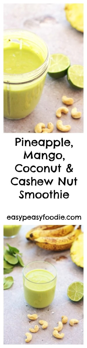 A delicious, tropical tasting smoothie with a hidden portion of spinach, giving it a wonderful green colour, this Pineapple, Mango, Coconut and Cashew Nut Smoothie makes a great quick and healthy breakfast or mid-afternoon pick me up.