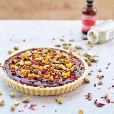Chocolate Tart with Cardamom, Apricots and Rose Petals