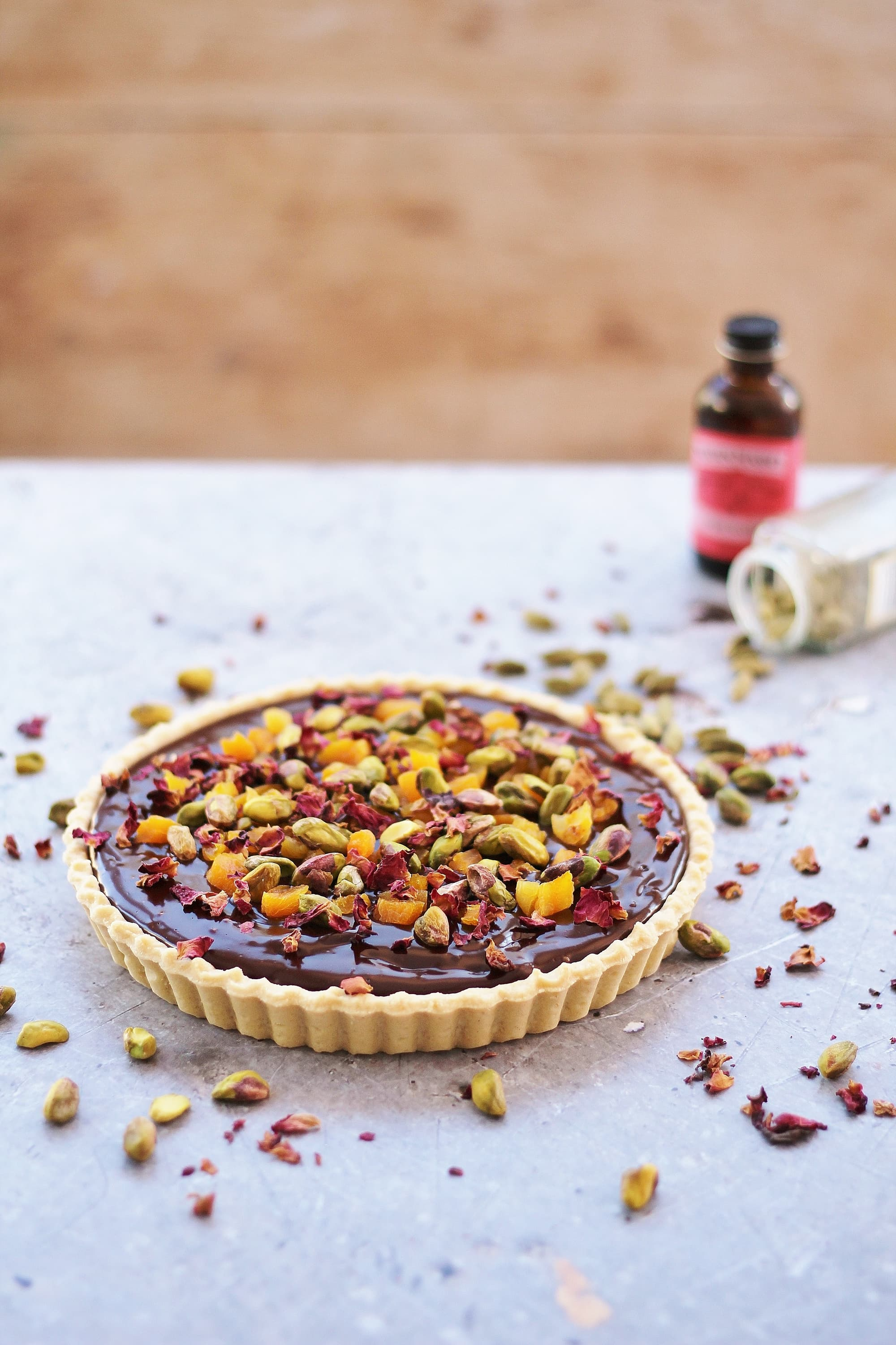 Chocolate Tart with Cardamom, Apricots and Rose Petals ...