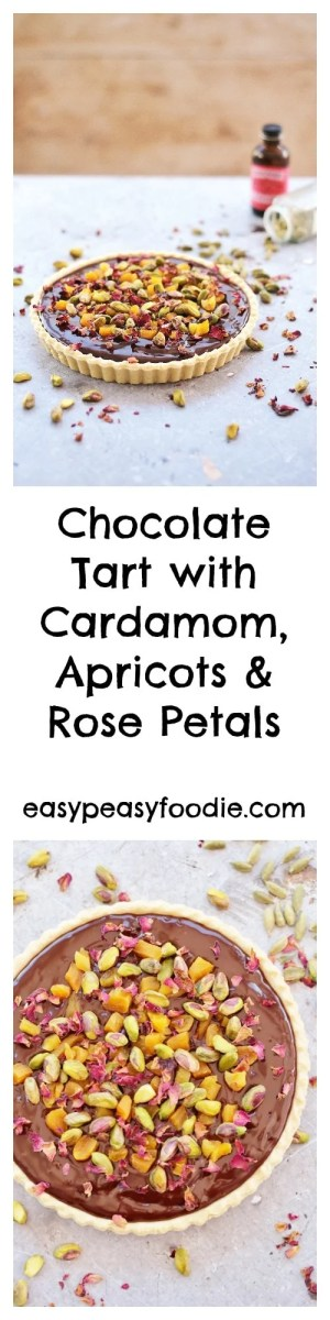 Rich, decadent and totally moreish, this middle eastern inspired Chocolate Tart with Cardamom, Apricots and Rose Petals is perfect for Valentine's Day or any day when you want a showstopping dessert without the hassle! #valentinesday #chocolatetart #rosepetals #cardamom #apricots