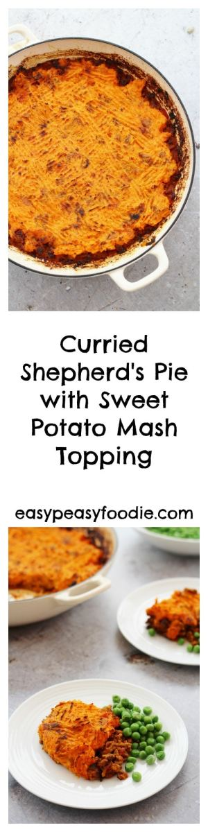 A delicious twist on a family classic, this Curried Shepherd's Pie with a Sweet Potato Mash Topping is going to be your new favourite midweek meal! Subtly flavoured with Indian spices and topped with nutritious sweet potato, this recipe takes shepherd's pie to a whole new level – plus this version can be ready in under 40 minutes! #shepherdspie #lamb #lambshepherdspie #curriedshepherdspie #sweetpotatoes #sweetpotatomash #easydinners #healthydinners #familydinners #midweekmeals #easypeasyfoodie