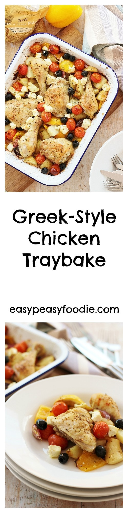 A simple midweek chicken dish, made with Tesco Cypriot New Potatoes, this Greek Style Chicken Traybake can be prepared in 10 minutes, making it perfect for busy days. #greekfood #traybake #chickentraybake #chickenthighs #greekchickentraybake #sheetpandinners #easydinners #healthydinners #familydinners #midweekmeals #easypeasyfoodie #cookblogshare #freefromgang