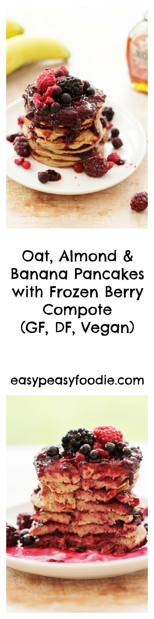 Healthy, easy and delicious, these Oat, Almond and Banana Pancakes with Frozen Berry Compote are gluten, dairy and egg free. They are free from refined sugar and vegan too, meaning almost everybody can enjoy them! #pancakes #pancakeday #shrovetuesday #vegan #glutenfree #dairyfree