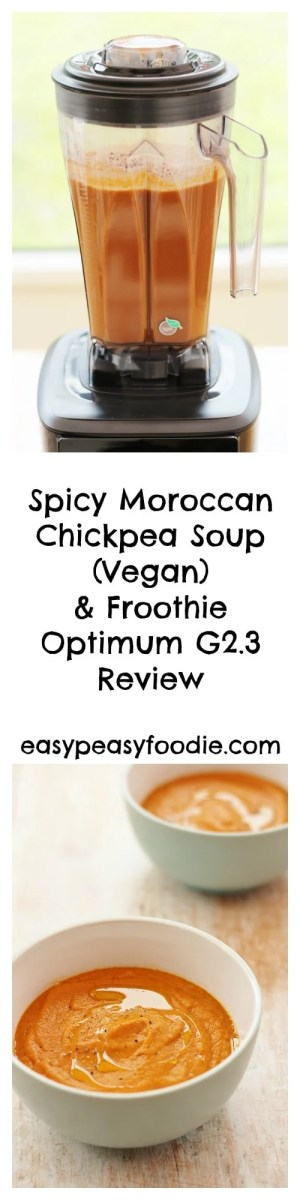 Can a blender really make soup in 8 minutes and wash itself up afterwards? Sounds too good to be true? Read my review of the Froothie Optimum G2.3 and find out… #soup #vegan #vegetarian #chickpeasoup #blendersoup #blenderreview #froothie #easypeasyfoodie