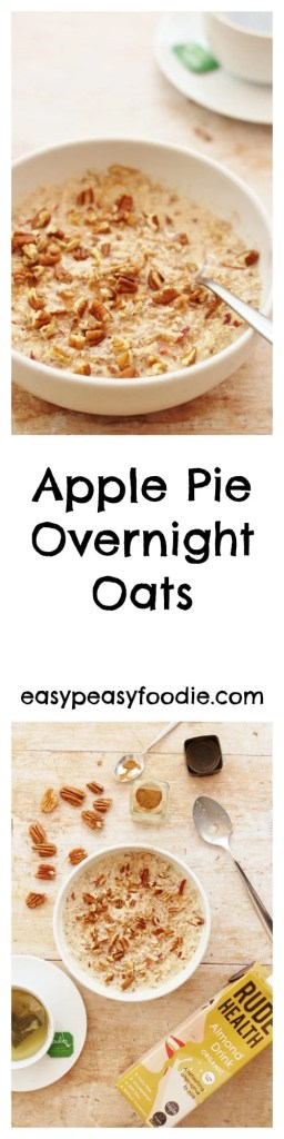 All the delicious flavours of an apple pie in a healthy, nutritious breakfast, these Apple Pie Overnight Oats are super easy to make and only takes 5 minutes - perfect for a busy morning! #oats #overnightoats #applepie #breakfast #brunch #healthybreakfast #easybreakfast #breakfastonthego #apples #pecannuts #chiaseeds #easypeasyfoodie