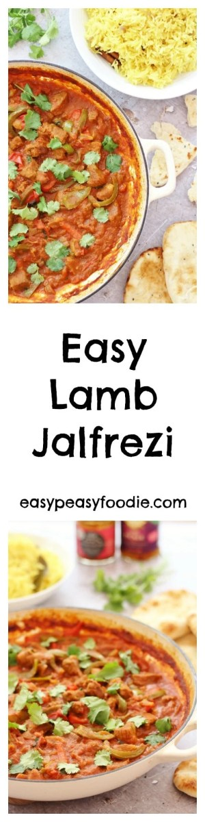 A really easy version of a curry house favourite, this Easy Lamb Jalfrezi is bursting with flavour and only requires a few minutes of hands on time – the perfect fakeaway! #lamb #jalfrezi #fakeaway #curry #lambcurry #midweekmeals #easydinners #familydinners #easypeasyfoodie