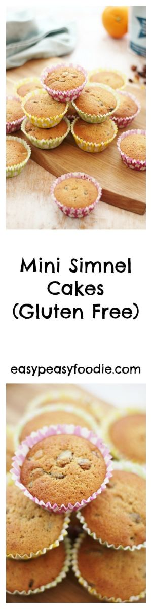 All the delicious flavours of a traditional Simnel Cake in an easy to make cupcake size, these Mini Simnel Cakes are also gluten free and have an exciting marzipan surprise inside! #glutenfree #marzipan #cupcakes #simnelcake #simnelcupcakes #simnel #mothersday #easter #eastercake #easterbaking #easybaking #easypeasyfoodie