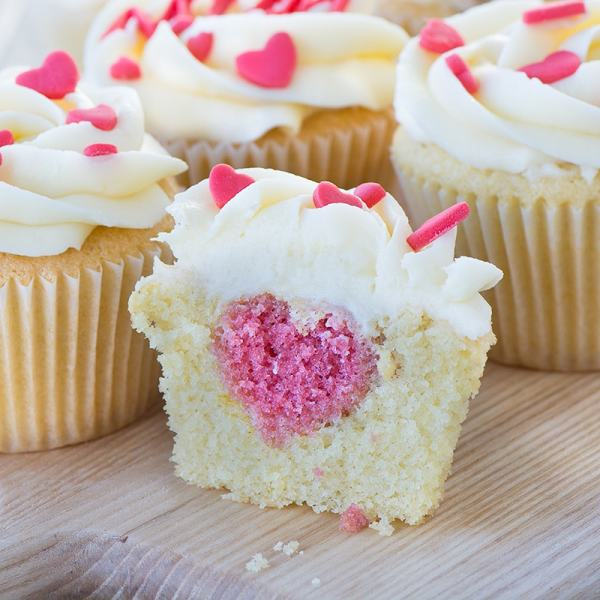 Hidden Hearts Cupcakes for Mother's Day