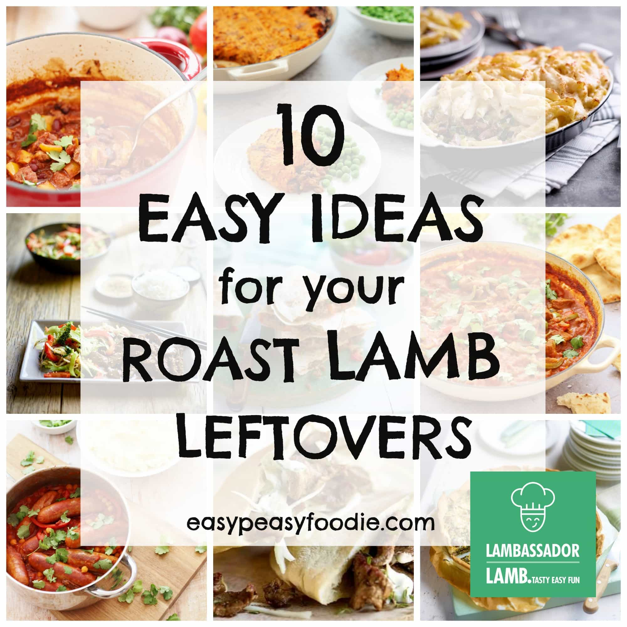 Need a few ideas for how to make the most of your leftover roast lamb? Want something a bit more inspiring than lamb sandwiches or cold meat and vegetables? Check out these 10 Easy Ideas for your Roast Lamb Leftovers… #lamb #roastlamb #lambleftovers #leftoverlamb #leftovers #easyrecipes #easypeasyfoodie