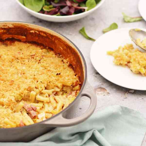 Macaroni Cheese with Bacon and Leeks