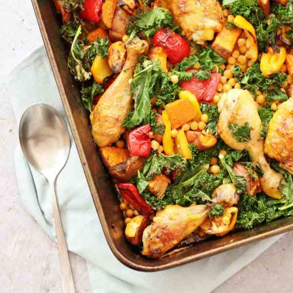 Sticky Harissa Chicken Traybake