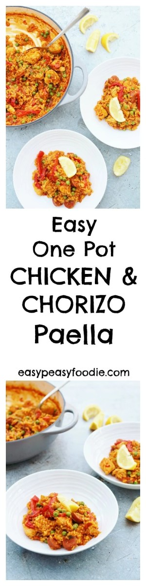This easy one pot Chicken and Chorizo Paella is perfect for busy evenings when you have very little time to cook but still want a great tasting meal!