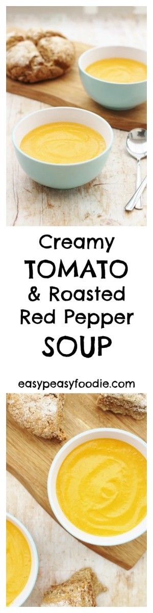 Deliciously creamy and rich this gorgeous Tomato and Roasted Red Pepper Soup is easy to prepare and full of flavour. And FINALLY I have found a way to make tomato soup without having to remove the skins! #Soup #TomatoSoup #Vegetarian