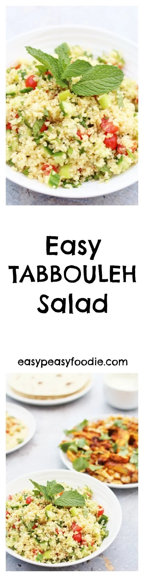 Want to know what my most requested recipe is? It's this Easy Tabbouleh Salad – a deliciously simple dish to make to take along to a BBQ or pot luck dinner and the perfect accompaniment to my Oven Baked Chicken Shawarma. #tabbouleh #salad #bbq #potluck #side #main #middleeastern #vegetarian #vegan #easyrecipes #midweekmeals #familydinners #easypeasyfoodie