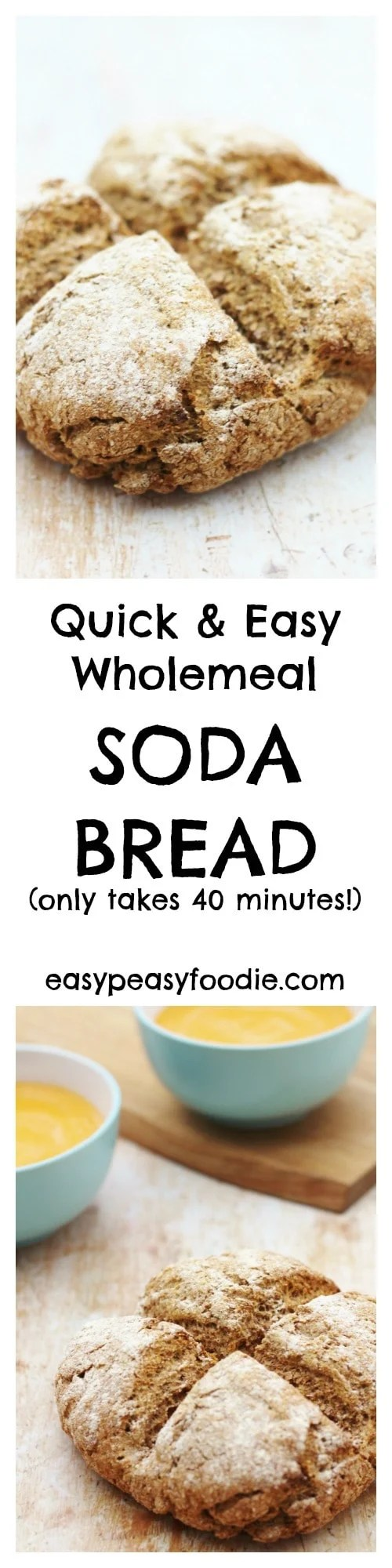 Delicious, crusty wholemeal bread in under 40 minutes? Yes it is possible! My Easy Wholemeal Soda Bread is amazing warm from the oven and perfect with soups and stews. #bread #sodabread #wholemealbread #easybread #quickbread #nokneadbread #stpatricksday #irish #healthyrecipes #easyrecipes #easypeasyfoodie