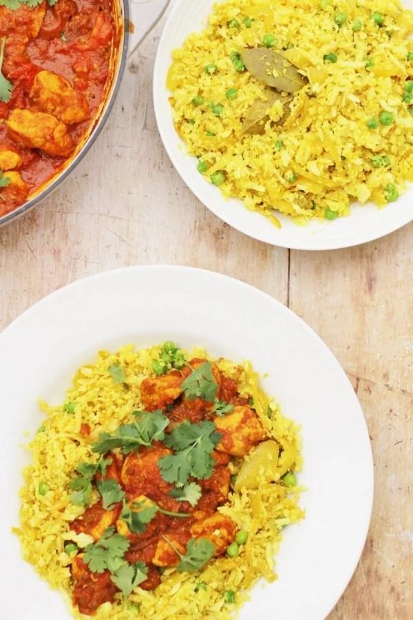 Pilau Cauliflower Rice with Chicken Rogan Josh