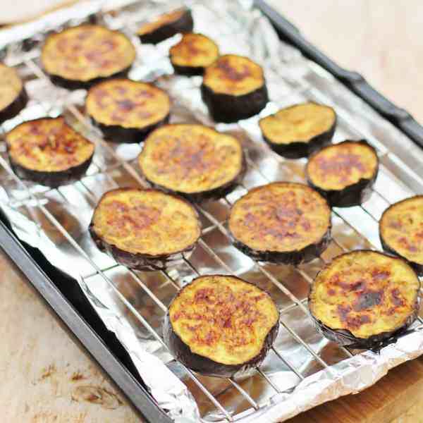 Easy Lamb Moussaka - grilling the aubergines