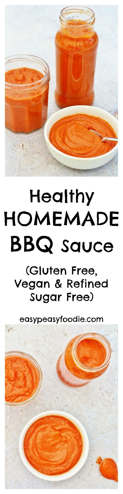 A delicious, healthy alternative to the additive laden commercial versions, this Healthy Homemade BBQ Sauce is super easy to whip up and way more tasty! #bbqsauce #homemade #bbq #healthy #healthybbqsauce #glutenfree #dairyfree #vegan #vegetarian #veganbbqsauce #norefinedsugar
