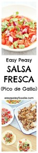 Pico de Gallo, AKA Salsa Fresca is made using fresh tomatoes, onions, coriander and lime...and usually chilli too, but I have missed the chillies out for this easy peasy, family friendly version. Serve with all your Mexican favourites, but especially good on my Mexican Pulled Pork Tacos!