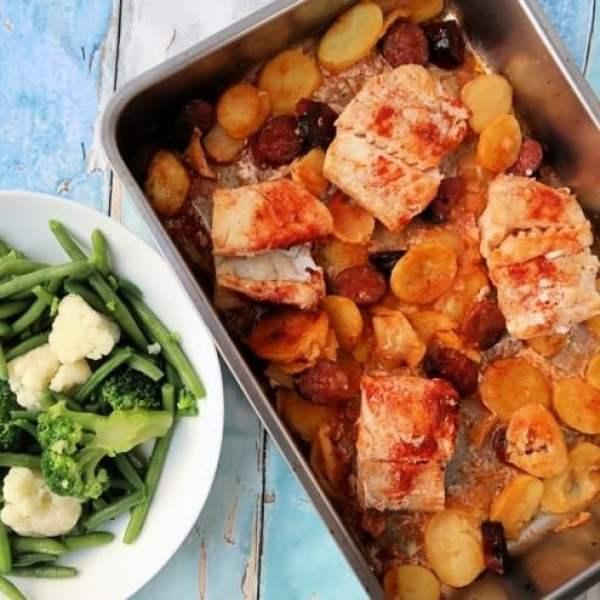 Cod and Chorizo Traybake