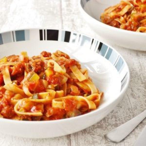 Pancetta with Mediterranean Vegetables Tagliatelle