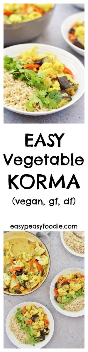 Simple, healthy and utterly delicious this Easy Vegetable Korma can be on your table in just 30 minutes, making it a perfect midweek meal! #Korma #Curry #Vegetarian #Vegan #GlutenFree #DairyFree #Under30mins #FreeFromHarvest #FreeFromGang