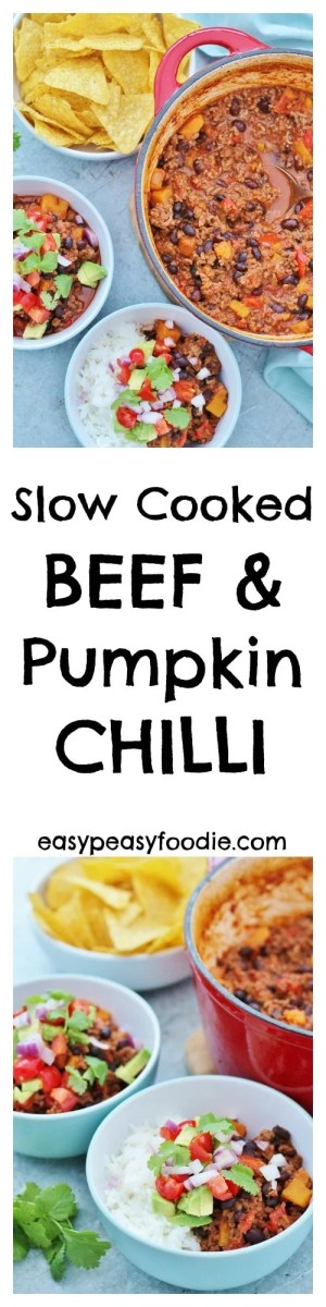When the evenings start to get darker and chillier, what could be better than a big pot of Beef and Pumpkin Chilli cooking away in the slow cooker all day, ready for a quick and easy meal come dinner time? #slowcooker #crockpot #beefchilli #beefchili #pumpkinchili #chilliconcarne #tortillachips #mexican #texmex #glutenfree #dairyfree