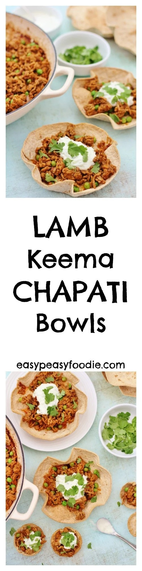 Perfect for party nibbles, a dinner party starter or even a quick midweek meal, these Lamb Keema Chapati Bowls are a great way to inject a little fun into your cooking and celebrate National Curry Week! #lamb #keema #chapati #bowls #mince #raita #starter #partyfood #nationalcurryweek