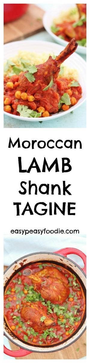 Full of warming spices, this impressive looking Moroccan Lamb Shank Tagine is actually ridiculously easy to make and only takes 15 minutes of hands on time. The result is melt in the mouth lamb that just falls off the bone, with a rich, spicy sauce and just a touch of sweetness from the dried fruit and honey. #moroccan #lamb #shank #tagine #lambtagine #lambshanks #easyentertaining