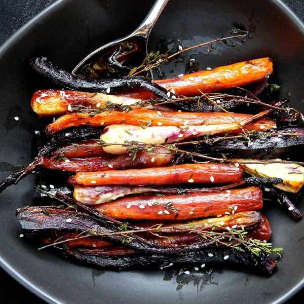 Honey Glazed Thyme Roasted Carrots and Parsnips