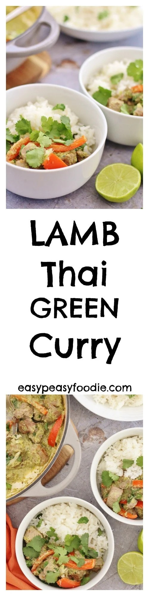 Thai green curry is fab, but have you ever tried it with lamb? My Lamb Thai Green Curry is full of the delicious, aromatic flavours of lemongrass, coriander, cumin, garlic and chilli, and can made from scratch in under 30 minutes! It's also dairy and gluten free and can be adapted to make it mild enough to serve to young children – or you can make it as hot as you like! #lamb #thai #green #curry #lambcurry #thaigreencurry #onepot #20minutes #easydinners #easypeasyfoodie