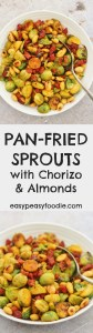 Fancy your Brussels sprouts with a Spanish twist this year? Why not try my Pan Fried Sprouts with Chorizo and Almonds! Gorgeously tasty and utterly easy peasy, this 3 ingredient sprout recipe can be on your table in under 15 minutes…and only use one pan! #brusselssprouts #brusselsprouts #sprouts #chorizo #almonds #christmasdinner #easychristmasdinner #easychristmasrecipes #christmasrecipes #christmasfood #christmasmenu #easychristmas #easypeasyfoodie #cookblogshare #easypeasychristmas