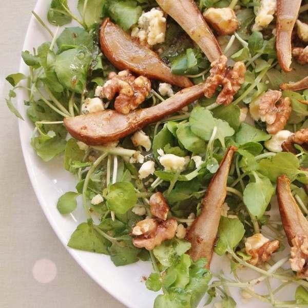 Roasted Pear, Stilton and Walnut Salad