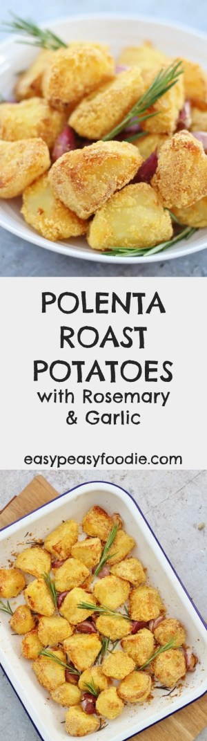 Want the most perfect crispy, crunchy roast potatoes? Then you have to try my Polenta Roast Potatoes with Rosemary and Garlic – polenta makes them super crunchy on the outside, whilst inside they are soft and fluffy…and deliciously flavoured with garlic and rosemary…and of course, as you'd expect from me, they are super easy to make! #polenta #roastpotatoes #roastdinner #glutenfree #dairyfree #vegetarian #vegan #christmas #christmasfood #easychristmas #easypeasyfoodie