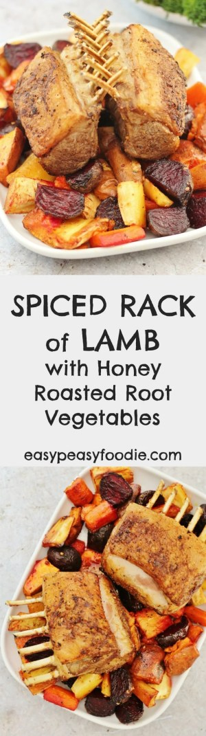 Fancy something a little different for Easter this year? Then what about serving up a showstopping Spiced Rack of Lamb with Honey Roast Root Vegetables? Better still it can all be cooked in one tray and in under 1 hour, meaning you have more time to spend with your friends and family on Easter Day! #easter #easterlamb #lambrack #rackoflamb #rootveg #rootvegetables #easyentertaining #easypeasyfoodie