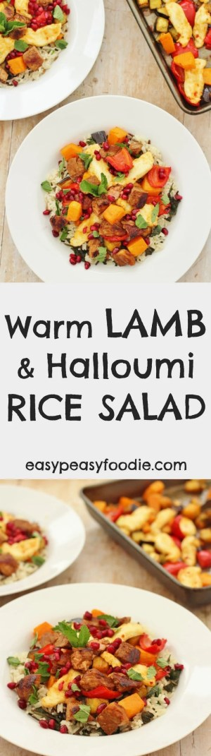 Delicious and super versatile, this Warm Lamb and Halloumi Rice Salad works brilliantly as a midweek supper, an impressive dinner party main or even as a dish to take to a buffet or pot luck. It also makes great leftovers to eat for lunch the next day! #warm #lamb #salad #rice #halloumi #ricesalad #harissa #easydinners #easyentertaining #easypeasyfoodie