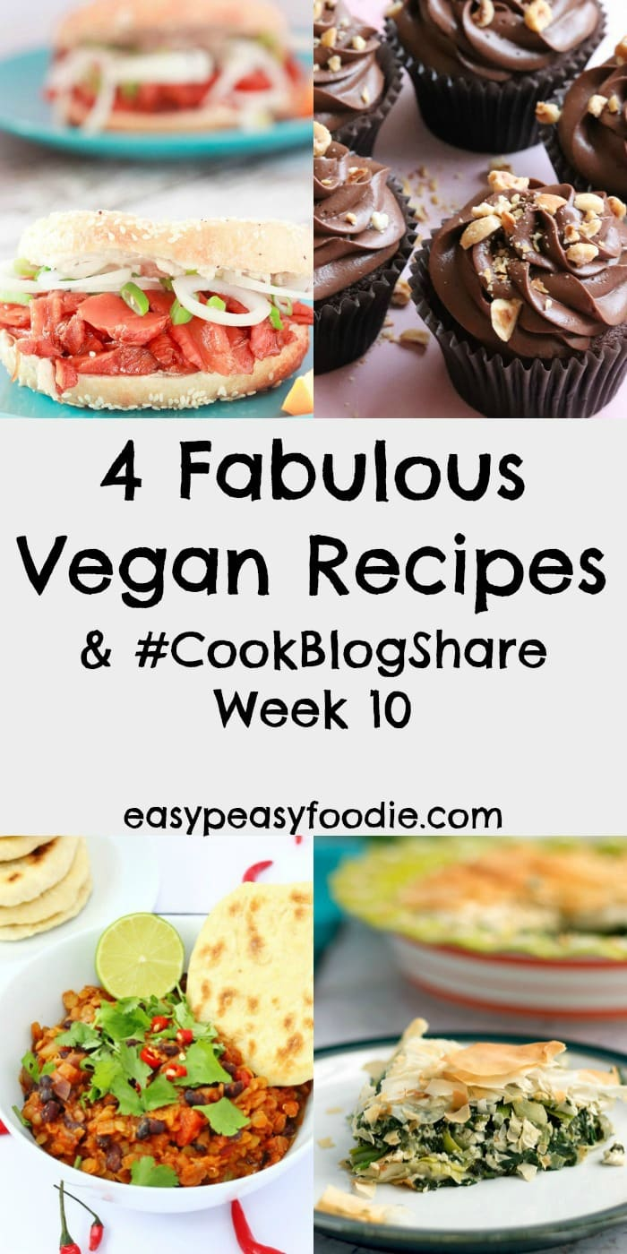 Think vegan food is boring? Think again. These 4 Fabulous Vegan Recipes are ANYTHING but boring!! From Spanakopita to Smoked 'Salmon' Bagels, Chilli Con Carne to Nutella Cupcakes, these clever bloggers prove it's possible to create incredible truly incredible flavours whilst still keeping it vegan...Plus find the linky for #CookBlogShare Week 10. #vegan #veganfood #veganspanakopita #veganbagels #vegansmokedsalmon #vegannutella #vegancupcakes #vegannutellacupcakes #nutellacupcakes #veganchilli #plantbased #plantbasedfood #veganfoodisnotboring