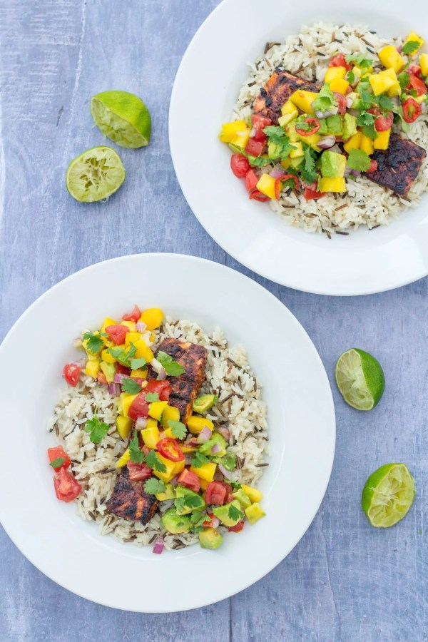 Jerk Salmon with Mango and Avocado Salsa