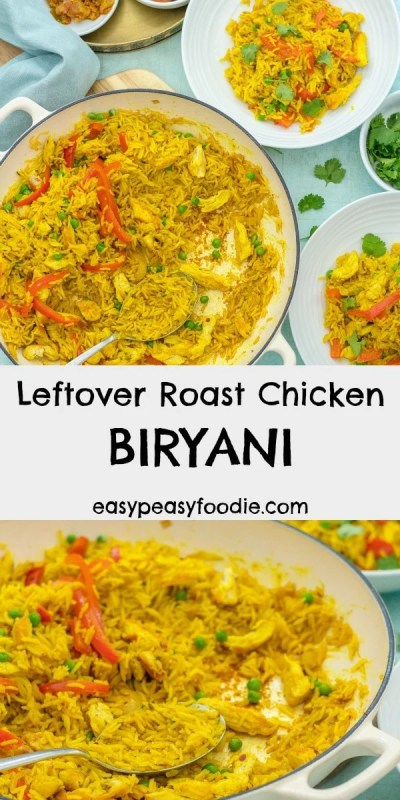 This Leftover Roast Chicken Biryani is quick, easy and is all made in just one pot!! It's a great way to use up leftover roast chicken or rotisserie chicken, but if you don't have any leftovers, don't worry! I have included a quick and easy way to 'create' some leftovers. This curry is also dairy free and gluten free. #chicken #chickenbiryani #chickencurry #leftoverchickencurry #roastchicken #rotisseriechicken #leftovers #leftoverchicken #midweekmeals #familydinners #easydinners #easymeals #easypeasyfoodie