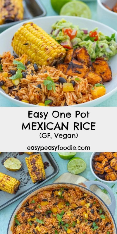 A quick, simple and delicious recipe, this Easy One Pot Mexican Rice with Black Beans and Corn is wonderful as a main course in its own right or as a side dish to all your Mexican favourites. It's gluten free, dairy free and vegan too! Dedicated to #HonestMum #mexicanrice #mexicanfood #vegan #dairyfree #glutenfree #vegetarian #easypeasyfoodie