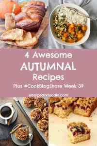 The kids are back in school, leaves are falling from the trees, the days are getting chillier – yes, autumn is back! And along with it, delicious fall recipes featuring pumpkins, apples, blackberries and spice. Here are 4 Awesome Autumnal Recipes to immerse your tastebuds in – along with the linky for #CookBlogShare Week 39… #autumn #fall #autumnrecipes #fallrecipes #autumnalrecipes #blackberries #bakedapples #traybake #pumpkinbread #pumpkins #comfortfood #curry #vegancurry #cookblogshare