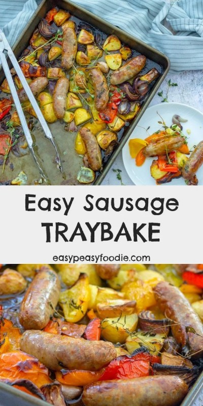 Quick, delicious and family friendly this Easy Sausage Traybake is the perfect midweek meal. Throw everything into one tray and cook for 45 minutes – what could be simpler? #sausages #sausagetraybake #sheetpan #traybake #newpotatoes #peppers #familydinners #easydinners #midweelmeals #easymeals #easypeasyfoodie #freefromgang #cookblogshare