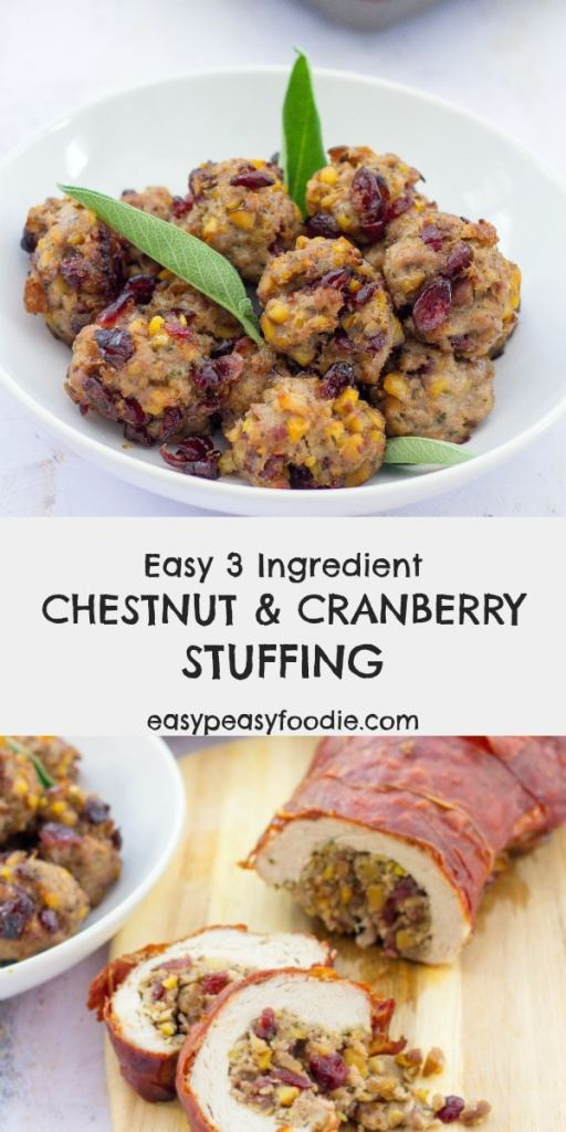 Deliciously festive, these gorgeous little Chestnut and Cranberry Stuffing Balls are the perfect complement to any roast meat, but especially roast turkey. This chestnut, cranberry and sausage stuffing recipe is super versatile and can also be used to stuff roast meats and/or cooked separately in an oven dish (see recipe notes for details). #stuffing #stuffingballs #turkeystuffing #cranberrystuffing #chestnutstuffing #sausagestuffing #thanksgiving #thanksgivingfood #christmas #christmasfood #easystuffingrecipe #easyrecipe #thanksgivingsides #christmassides #easypeasyfoodie #cookblogshare #freefromgang