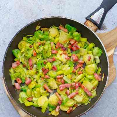 Pan Fried Sprouts with Leek and Bacon