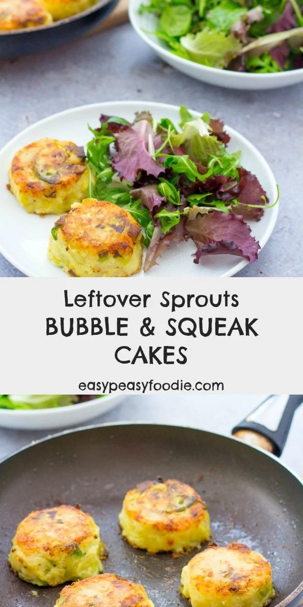 A Boxing Day classic reinvented, these Leftover Sprouts Bubble and Squeak Cakes are the ideal way to use up all your Christmas dinner leftovers - especially the leftover Brussels sprouts! #bubbleandsqueak #bubbleandsqueakcakes #potatocakes #sproutcakes #sprouts #brusselssprouts #sproutlover #sprouthater #ilovebrusselssprouts #easyrecipe #easysides #christmasfood #christmasdinner #christmasrecipe #easypeasyfoodie #cookblogshare #freefromgang