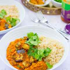 Roasted Aubergine and Red Lentil Dhal (Vegan)