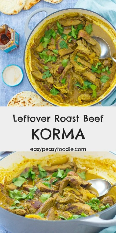 A deliciously easy way to use up your roast beef leftovers, this Leftover Roast Beef Korma can be whipped up in under 30 minutes – perfect for busy weeknights! No leftovers? No problem! This easy korma can be made with rump steak instead. #beef #roastbeef #leftoverroastbeef #beefcurry #beefkorma #leftovers #steak #rumpsteak #sundayroast #currynight #easydinners #easymeals #midweekmeals #familydinners #easypeasyfoodie #cookblogshare #freefromgang