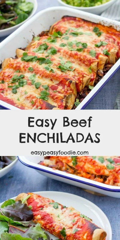 Quick, simple to prepare and packed full of delicious Mexican flavours, these Easy Beef Enchiladas are the perfect dinner to whip up on a busy weeknight, when you still want to eat well. Enjoy with all your favourite Mexican side dishes, such as guacamole and salsa! #enchiladas #beefenchiladas #beefmince #mince #mexicanfood #tortillas #easydinners #30minutemeals #familydinners #midweekmeals #cookblogshare #freefromgang
